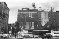 Modeling Calvin Klein Jeans on a New York City billboard